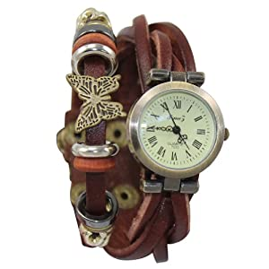 JN® Fashion Butterfly Retro Wrap Around Weave Leather Watch Bracelet