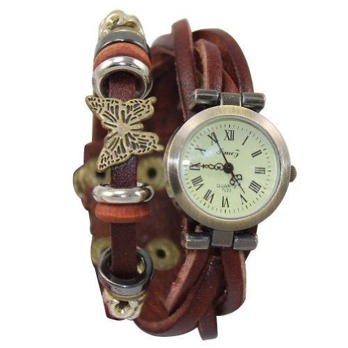 Sinobag®Hot Women Ladies Girls Vintage Retro Leather Bracelet Watch Wristwatch With 1 Pair Of Stud Earring