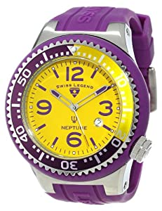 Swiss Legend Men's 21818S-B-LAL Neptune Yellow Dial Purple Silicone Watch