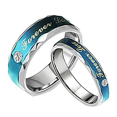 """OPK Jewelry Blue Stainless Steel """"Forever Love"""" Real Love CZ Couples Rings His and Her Wedding Band"""