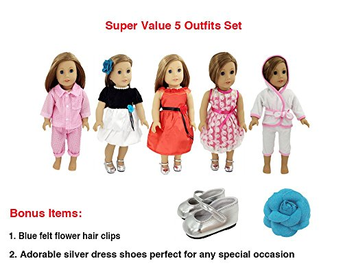 Weardoll 5 Outfits, Shoes and Accessories for American Girl Doll and 18-Inch Dolls