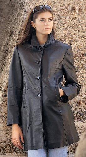 Buy Women's Guide Gear New Zealand Lambskin Leather Walking Coat Black