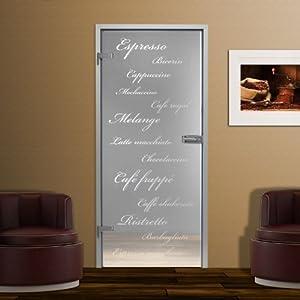Ganzglastür GTS 272F Klarglas mit Dekor Kaffee Variationen, 834 x 1972 x 8mm, Linksanschlag, Sicherheitsglas  BaumarktKundenbewertung und weitere Informationen
