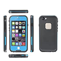 Kemier® iPhone 6 Plus Underwater Case, Waterproof Shockproof Dust proof Durable with Built-in Transparent Screen Protector Protective Transparent Waterproof Case for Apple iPhone 5.5 Inch(Black.Blue)