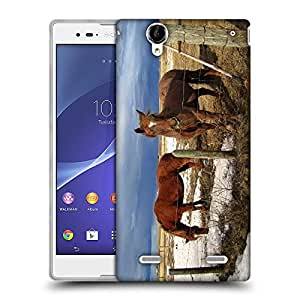 Snoogg Black Parental Horse Designer Protective Phone Back Case Cover For Sony Xperia T2 Ultra