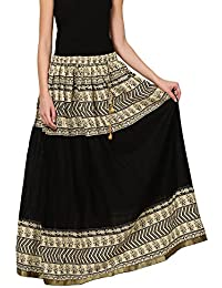 Saadgi Rajasthani Hand Block Printed Handcrafted Pure Rayon Lehnga Skirt For Women/Girls - B06XGJRMJP