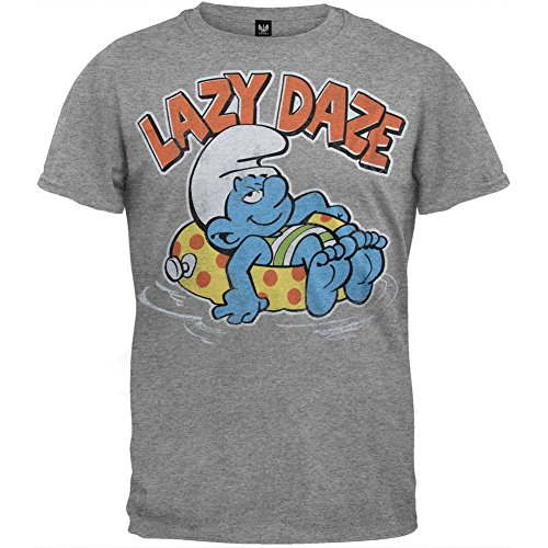 Smurfs - Mens Lazy Daze Soft T-shirt X-large Grey (Smurfs Merchandise compare prices)