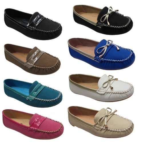 New Ladies Womens Mocassin Black Slip On Flat Deck Boat Loafers Casual Pumps Shoes Uk Sizes 3 4 5 6 7 8