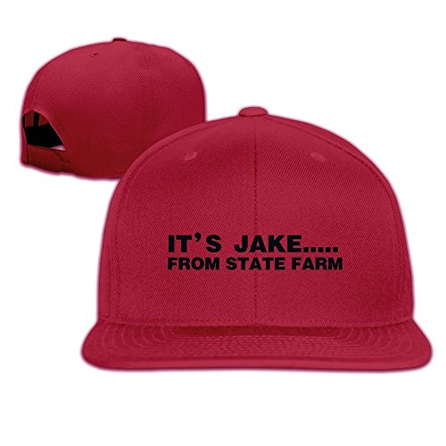 hittings-its-jake-from-state-farm-adjustable-hats-flat-brim-baseball-caps-red