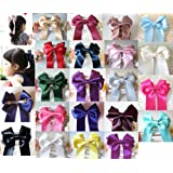 Large Handmade Girls Ribbon Ponytail Hair Bow Clips Barrettes Accessories