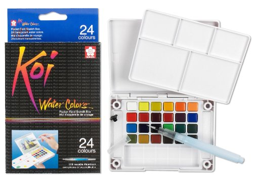 Sakura XNCW-24N, 24 Assorted Watercolors Field Sketch Set with Brush (Watercolor Pans compare prices)