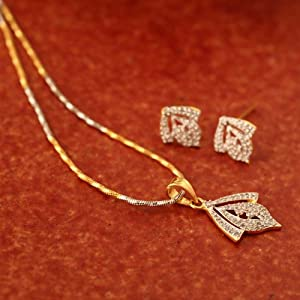 Prystal Women Pendants and Sets PYPS 08 12 Gold Silver