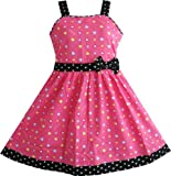 Girls Dresses Heart Print Pink Children Clothes Size 4-12