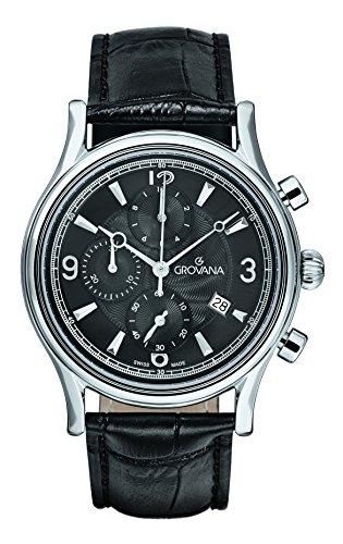 Grovana reloj infantil de cuarzo con para hombre esfera cronógrafo y correa de cuero negro 1728,9537