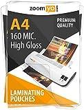 Zoomyo A4 Laminating pouches 160 Micron (2x80 Mic) High Gloss - 100 per pack