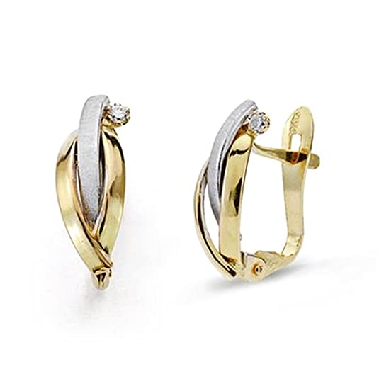 18k gold earrings 13mm bicolor zircons. [AA0270]
