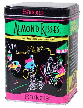 Delicious Bite Size Caramel Almond Kisses Gourmet Candy In Decorative Tin Box