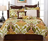 Pointehaven Printed Hannah 3-Piece 100-Perent Combed Cotton Full/Queen Duve ....