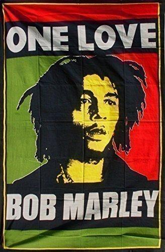 ONE LOVE, BOB MARLEY RASTA REGGAE CANNABIS COPRIDIVANO O COPRILETTO SINGOLO, MOTIVO DECORAZIONE