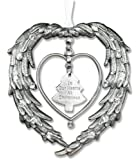 """Remembrance Ornament """"In Our Hearts At Christmas"""" Angels Wings Jeweled Accents"""