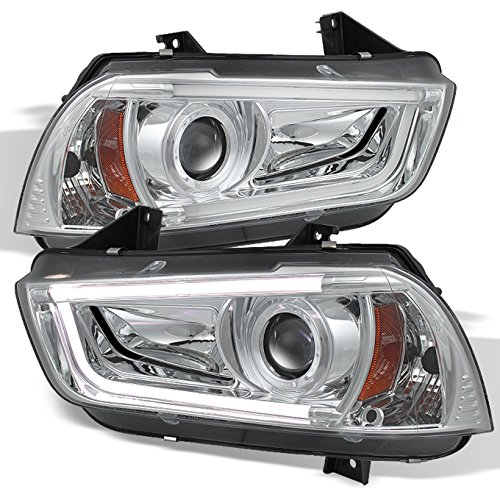 Charger Black Bezel LED Daytime Running Lights Tube/Strip Design Halogen Type Projector Headlights (2014 Dodge Charger Halo Lights compare prices)