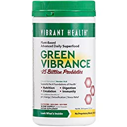 Vibrant Health - Green Vibrance - A Comprehensive, Restorative, Advanced Daily Superfood + Vegan D3, 30 servings