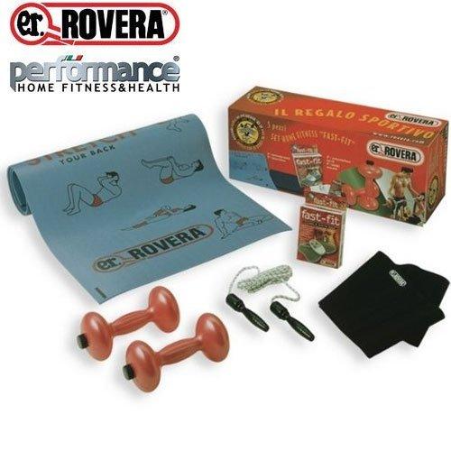 Set Regalo Rovera Fitness Coppia Manubri Zavorrabili + Materassino Tappetino Stretch + Cintura Dimagrante Fast Slim + Elettrostimolatore Fast-Fit a 6 Programmi + Corda salto in Nylon