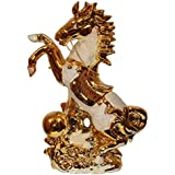 Odishabazaar Running Horse Idol Figurine In Golden Color Perfect For Home Decor & Gift (13.5x10x4) Inch