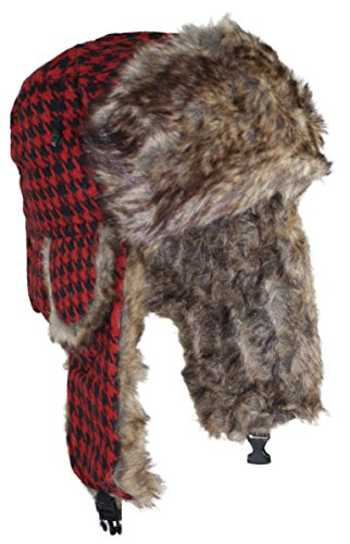ted-and-jack-teds-houndstooth-trapper-faux-fur-lined-bomber-hat-in-red-and-black
