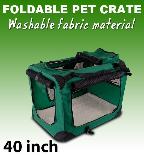 New Xl Dog Pet Puppy Portable Foldable Soft Crate Playpen Kennel House - Green front-1017438