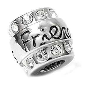 queenberry sterling silver friend cz bead charm for