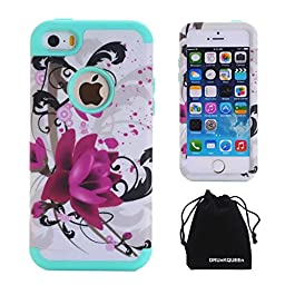 iPhone SE / iPhone 5S 5 Case, DRUnKQUEEn® [Shockproof] Dual-layer Hybrid Lotus Flower Protective Case Cover for iPhoneSE iPhone5S - Green