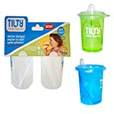 Tilty Sippy Cup 4 Pack combo Set(1 Blue & 1 Green plus 2 Clear) Total 4 Cups!