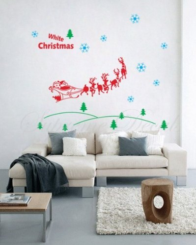 Christmas Decals- Santa in the forest-Removable
