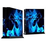MightySkins Protective Vinyl Skin Decal Cover for Sony PlayStation 4 PS4 Console Sticker Skins Blue Flames
