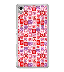 Hearts Pattern 2D Hard Polycarbonate Designer Back Case Cover for Sony Xperia Z4