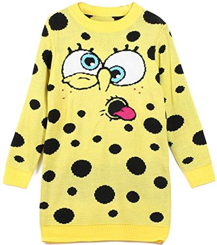 [Gurteen Women's Girl's Cotton Long Sweater Dress Sponge Bob Pullover Oversized Coat] (Spongebob Dress)