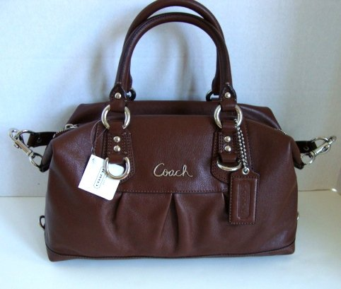 Coach Leather Ashley Sabrina Duffle Convertiable Satchel Bag Purse 15445 Walnut
