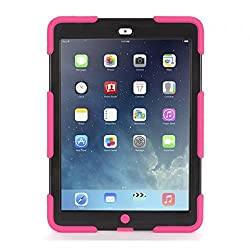Pink/Black Survivor Case + Stand for iPad Air
