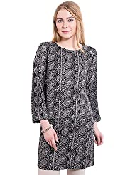 KASHANA Viscose Twill Black Printed Summer Tunic Dress For Women Girls Ladies