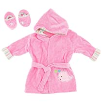 Pink Terry Infant Bath Robe with Slippers for Baby Girls 0-9Months