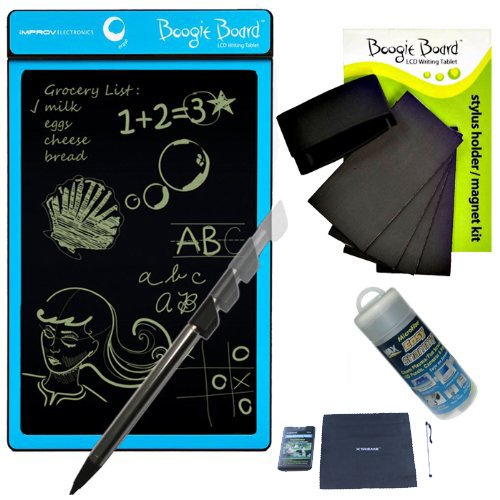 Boogie Board Lcd Writing Tablet In Cyan With Boogie Board Magnet Kit And Cleaning Kit With Shammy Cleaning Cloth