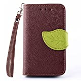 Samsung GALAXY Young 2 G130H Case, IVY Brown - Leaves Magnetic Snap Series Wallet Card Flip Synthetic Holster Leather Stand With Lanyard Case Cover Skin For Samsung GALAXY Young 2 G130H
