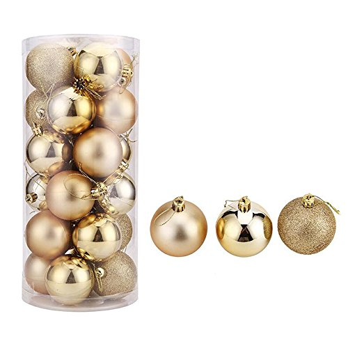 YUANSHOP1 クリスマス オーナメント ボール 24個セット クリスマス ツリー 飾り ツリー デコレーション ボール 3種アソート プラスチック メッキ処理 高級 おしゃれ (径6cm, ゴールド)