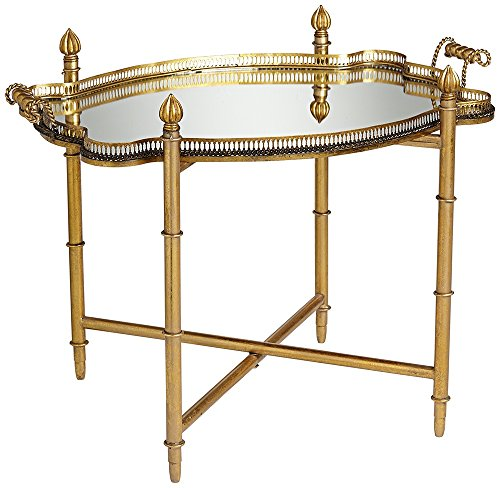 Izmir Gold With Mirror Top Tray Table