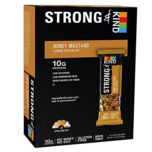 STRONG & KIND Protein Bars, Honey Mustard Savory Snack Bars, 1.6 Ounce, 12 Count (Honey Bar compare prices)