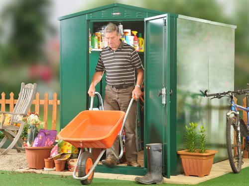 5' x 7' Metal Garden Shed in Dark Green (WITH ASSEMBLY) - secure storage for gardening equipment and tools.