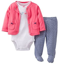 Carter\'s Baby Girls\' 3 Piece Footed Set (Baby) - Pink - 6 Months