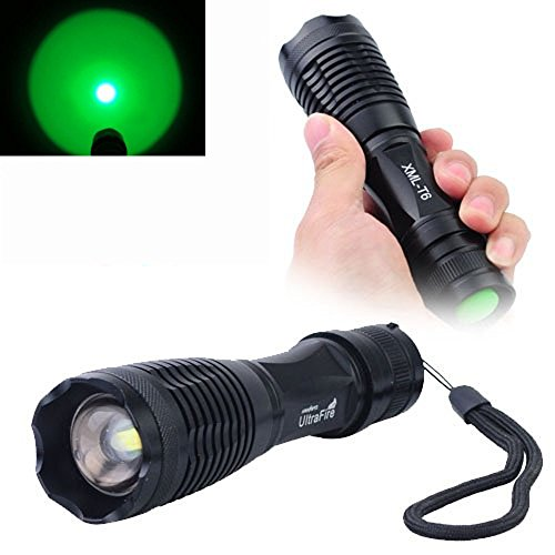 Welltop® Cree Xm-L T6 Led 200 Lumen Flashlight With 2Pcs 3.7V 18650 3000Mah Rechargeable Lithium Battery And Charger (Green)