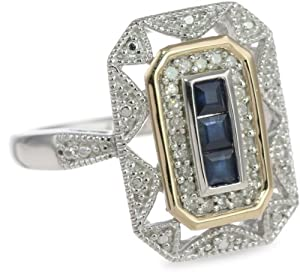 S&G Sterling Silver and 14k Yellow Gold Blue Sapphire and Diamond-Accent Art Deco Style Ring (0.12 cttw, I-J Color, I3 Clarity), Size 6